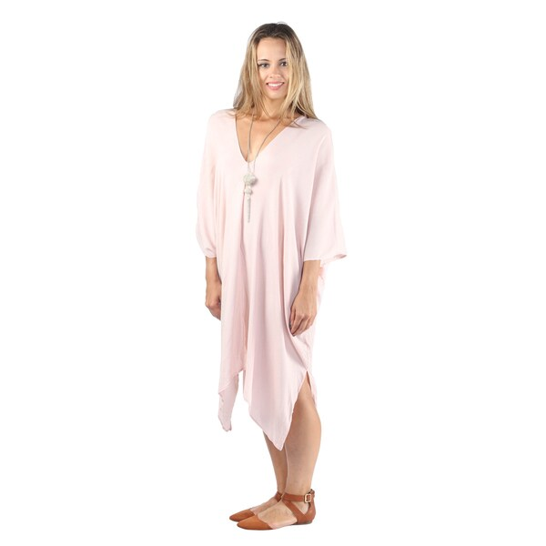 Hadari Women's Loosefit Pink V-Neck Tent Dress with Handkerchief Hem Line