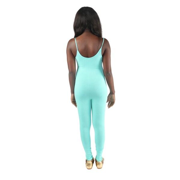 Hadari Women's Miss Boss Print Slimfit Spaghetti Strap Bodycon Pant Jumpsuit