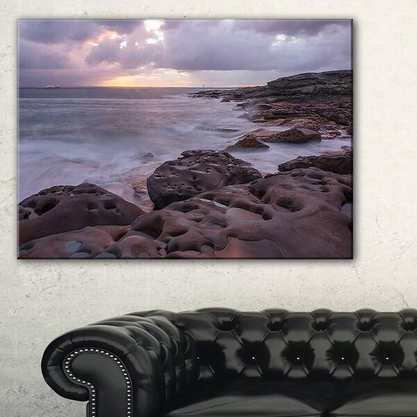 Dark Australian Seashore with Large Rocks - Large Seashore Canvas Print