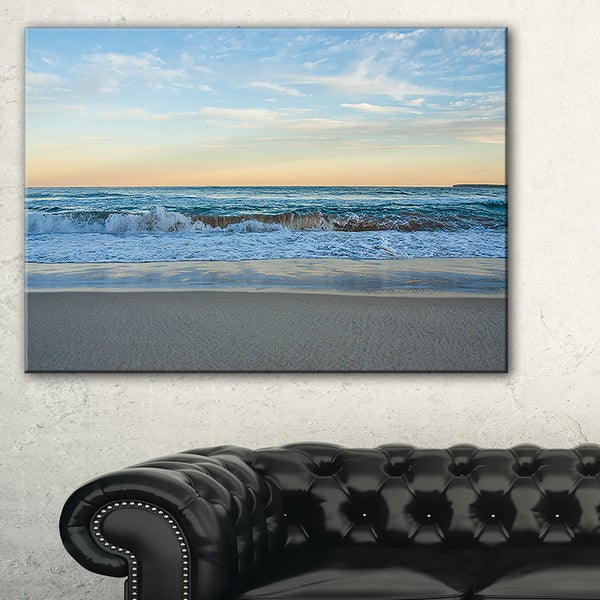 Blue Splashing Scene Beach - Large Seashore Canvas Print
