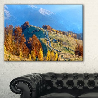 Rural Road on Autumn Mountains - Landscape Art Print Canvas