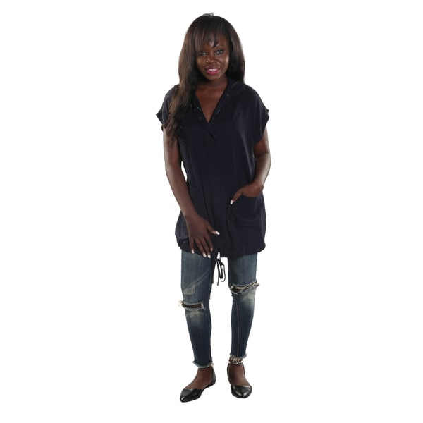 Hadari Womens Navy Button Down Hoodie Sleeveless Tunic Top