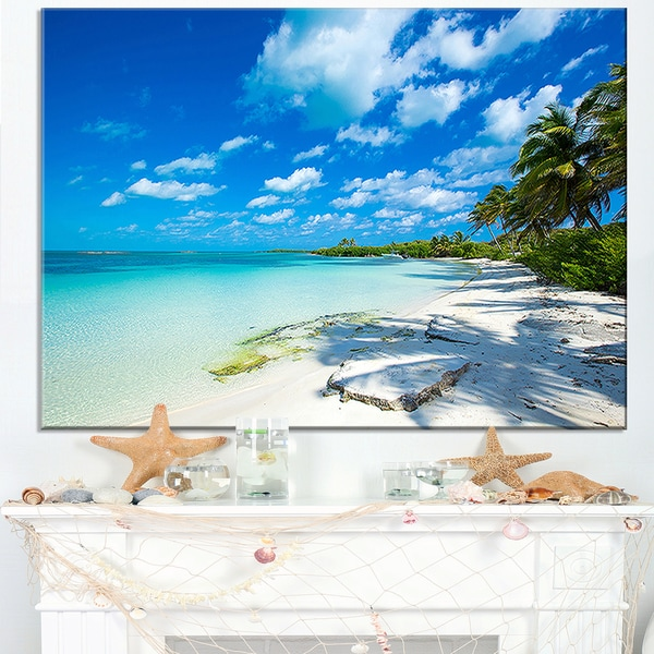 Tropical Beach with Palm Shadows - Large Seashore Canvas Print
