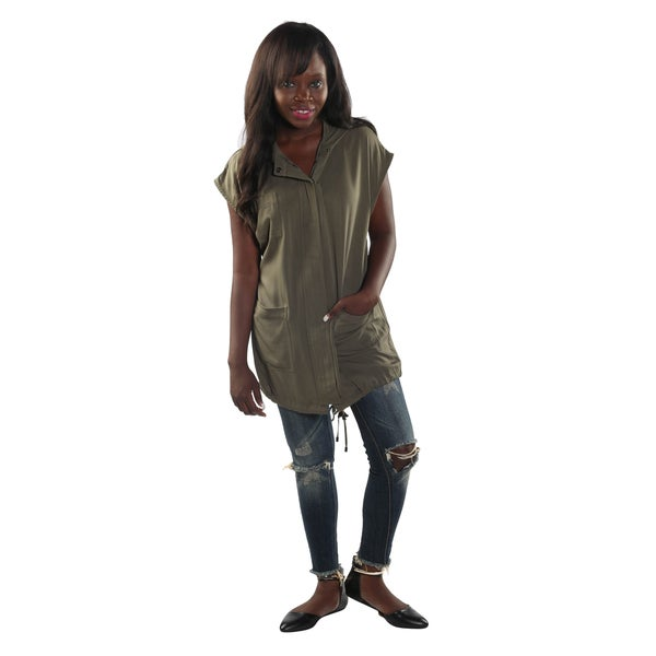 Hadari Womens Olive Button Down Hoodie Sleeveless Tunic Top