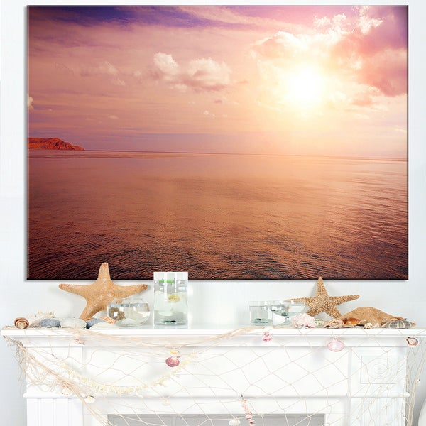 Pink Sky Over Dark Beach at Sunset - Large Seashore Canvas Print