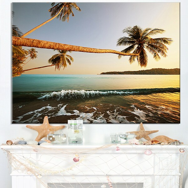 Andaman Sea Large Coconut Palms - Large Seashore Canvas Print