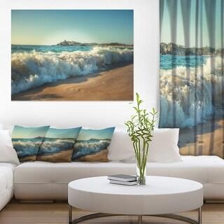 Stormy Waves Hitting Beach Sand - Modern Beach Canvas Art Print