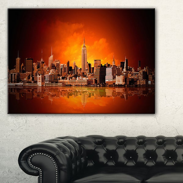 New York City Panorama in Red Light - Cityscape Canvas print