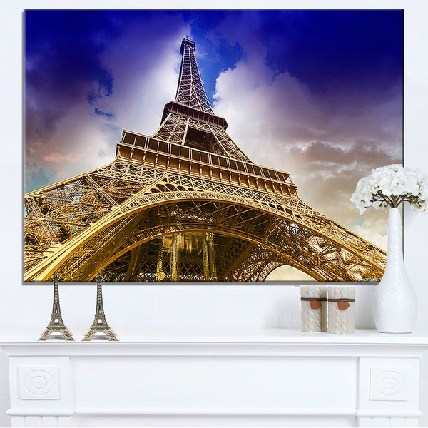 The Paris Eiffel Tower Shot from Ground - Cityscape Canvas print