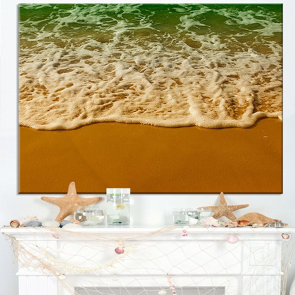 White Waves from Green Beach Waters - Seashore Canvas Wall Art