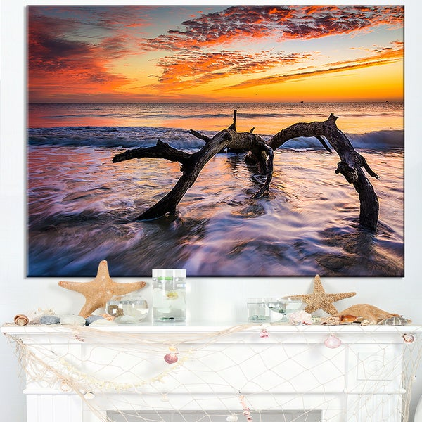 Tree and Waves in the Atlantic Ocean - Seashore Canvas Wall Art