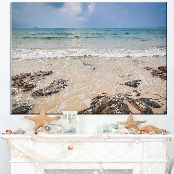 Rocks on Typical Tropical Beach - Beach Canvas Wall Art