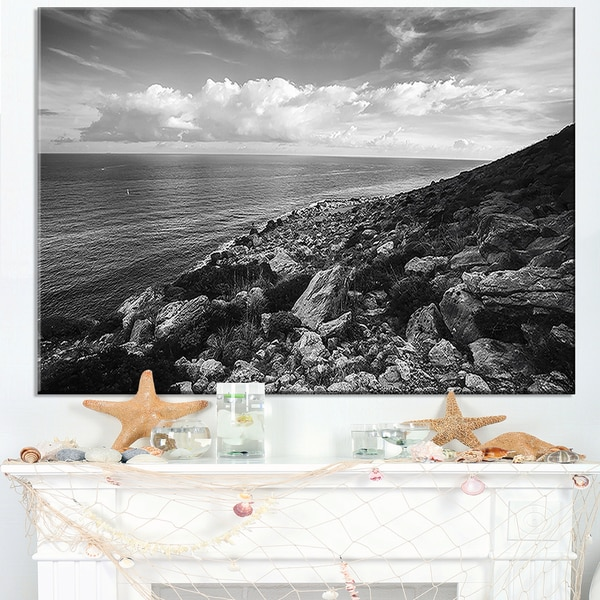 Sunrise over Sicily Black and White - Beach Canvas Wall Art
