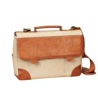 Preferred Nation Russo Beige Canvas/Leather 15-inch Laptop Briefcase