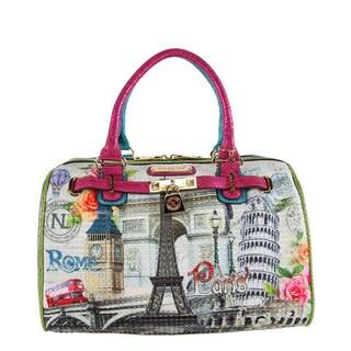 Nicole Lee Europe Print Boston Satchel Handbag