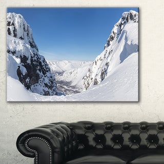 Pass in the Northern Winter Hills - Landscape Art Canvas Print