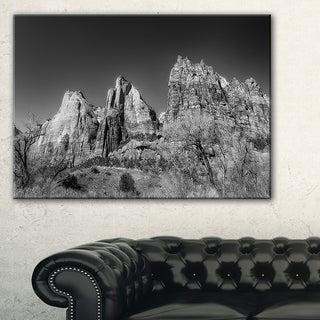 Rising Red Rocks Black and White - Landscape Art Canvas Print