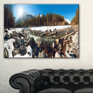 Baskan Mountain River at Wintertime - Landscape Art Canvas Print