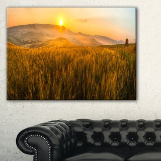 Tuscany Wheat Field at Sunrise - Landscape Artwork Canvas