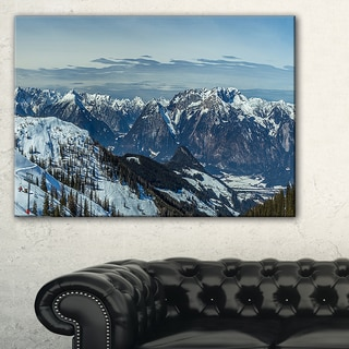 White Ski Slope Panoramic View - Landscape Artwork Canvas