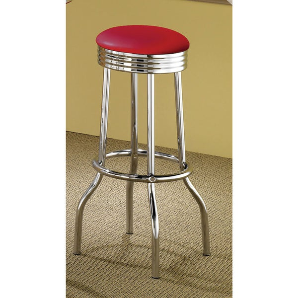 Red Cushion Silver Bar Stool