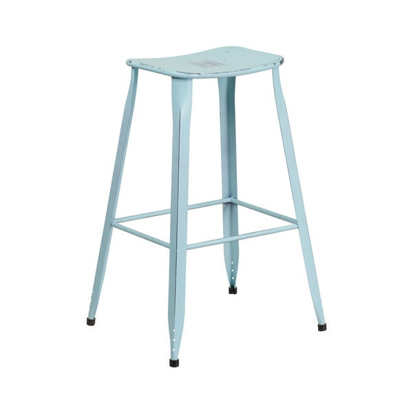 "Offex 30"" High Distressed Metal Lightweight Barstool"