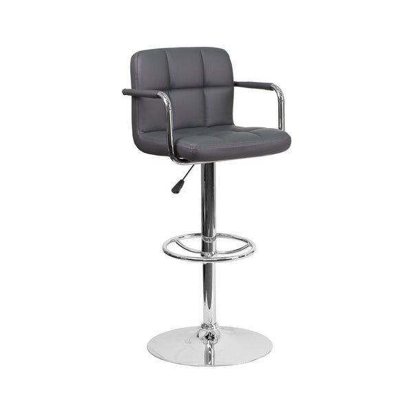 Offex Contemporary Gray Quilted Vinyl Height Adjustable Barstool with Arms and Chrome Base 19602707