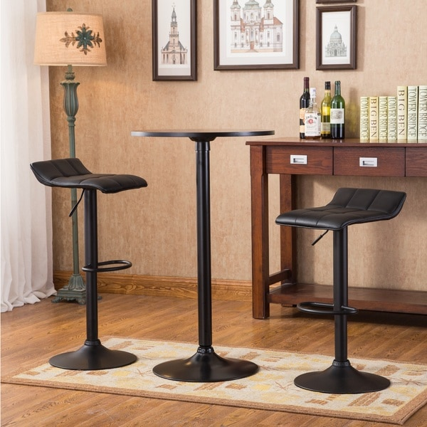 Belham Black Round Top Metal Bar Table and Adjustable Swivel Stools 3-piece Bar Set
