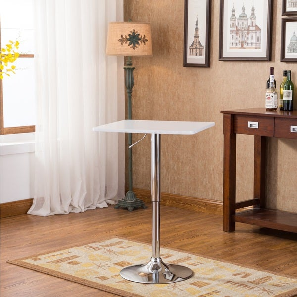 Baxton White Square Top Adjustable Height Wood and Chrome Metal Bar Table