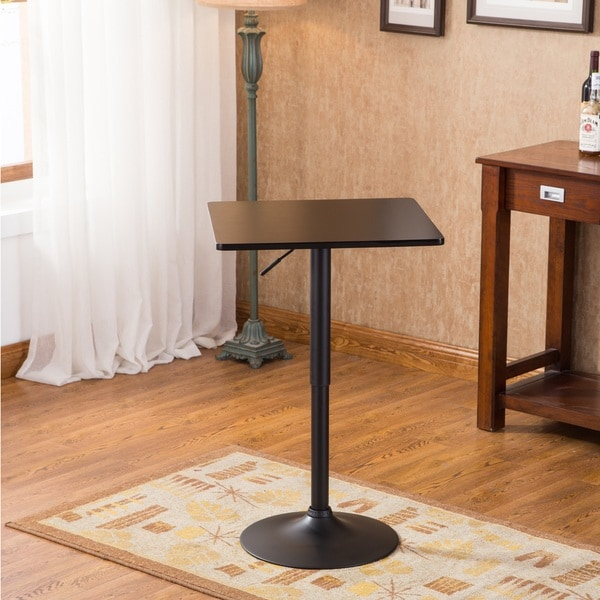 Belham Black Square Top Adjustable Height Metal Base Bar Table