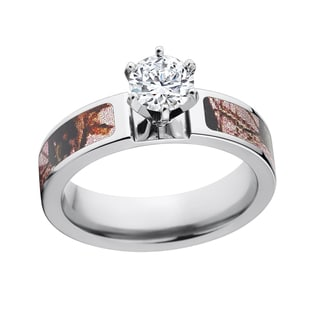 14k White Gold Pink Mossy Oak 1-carat Cubic Zirconia Solitaire Cobalt Engagement Ring