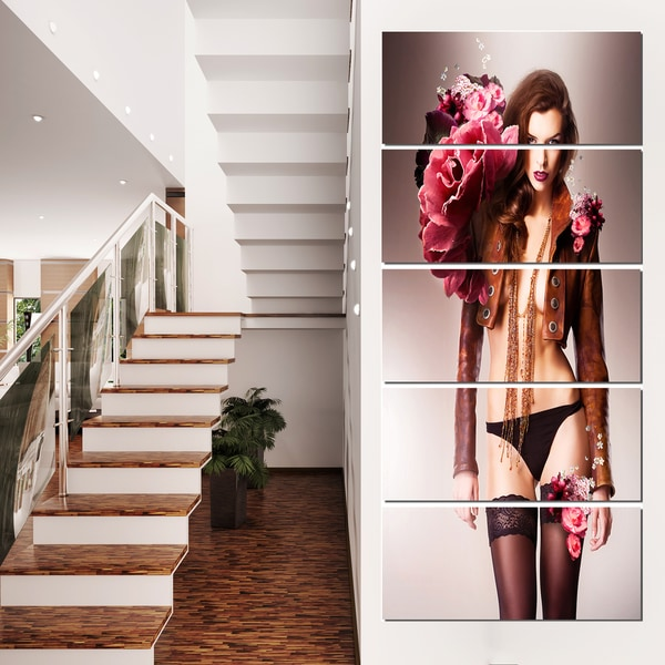 Erotic Flower Woman in Panties -  Art Portrait Canvas Print