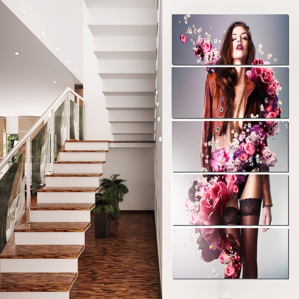 Erotic Flower Woman in Jacket - Art Portrait Canvas Print