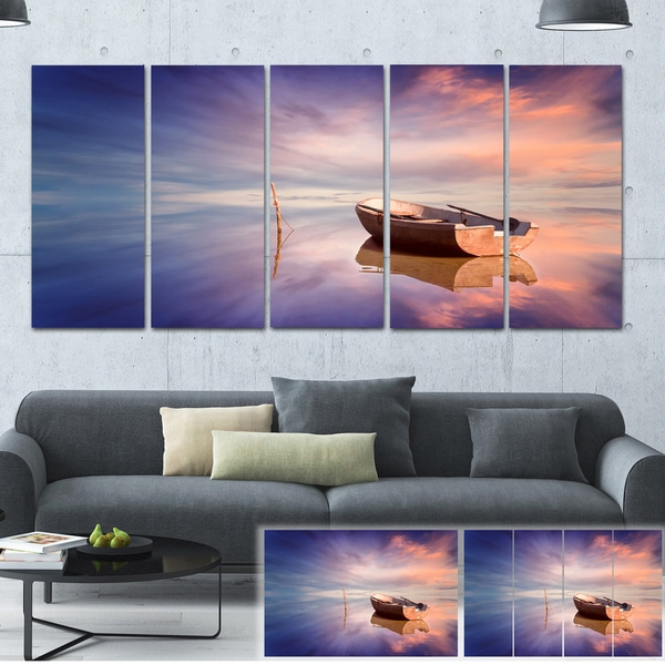 Lonely Boat in Colorful Sea - Seascape Painting Canvas Print