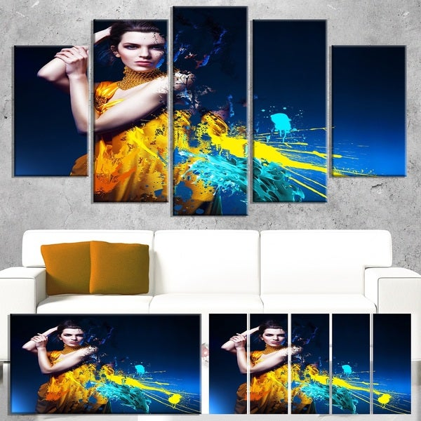 Sexy Woman in Long Yellow Robes - Portrait Art Canvas Print