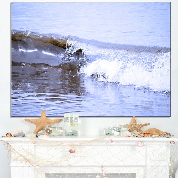 Crisp Blue Waves Splashing Beach - Contemporary Seascape Art Canvas