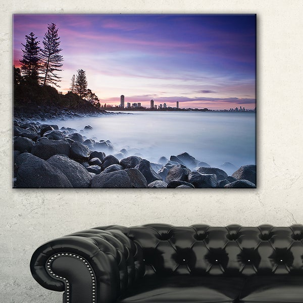 Rocky Burleigh Point in Blue - Extra Large Seascape Art Canvas