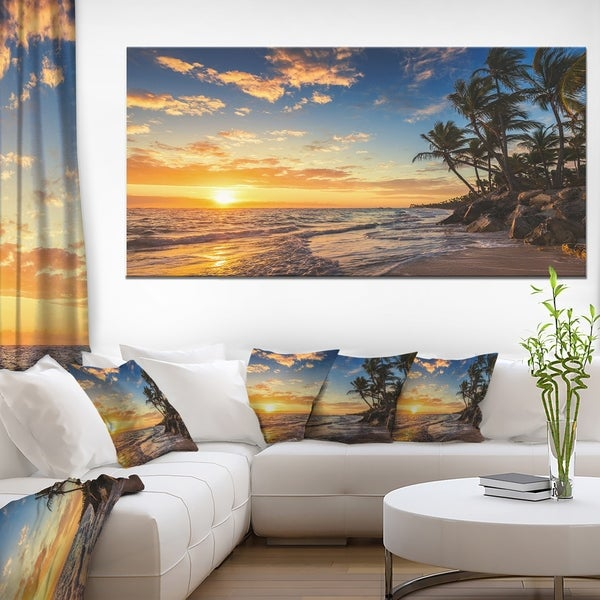 Paradise Tropical Island Beach with Palms - Seascape Art Canvas 19604204