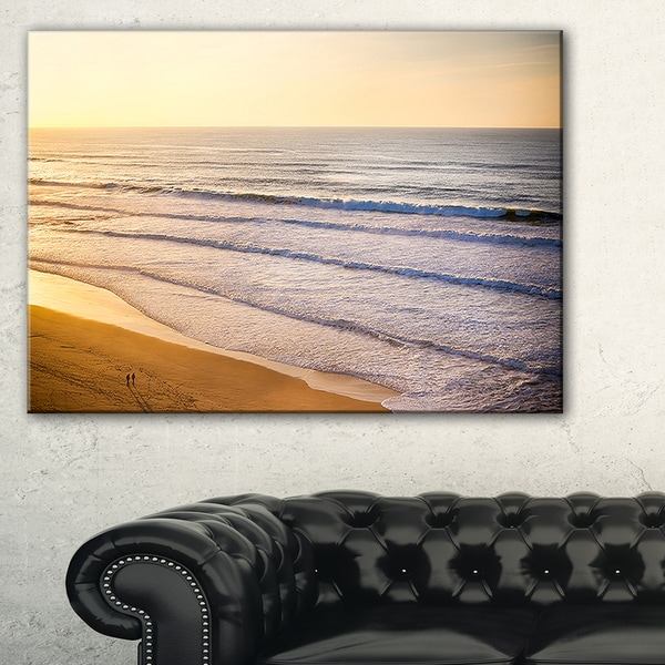 Stunning Orange Sunset Over Beach - Extra Large Seascape Art Canvas