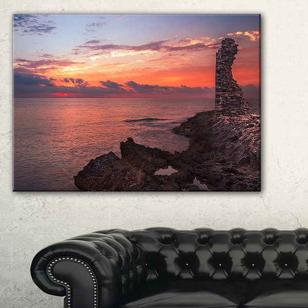 Red Rocky Beach with Ancient Ruins - Oversized Beach Canvas Artwork