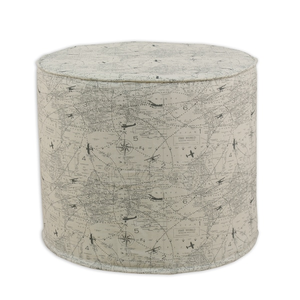 Air Traffic Felix Round Grey Corded Ottoman