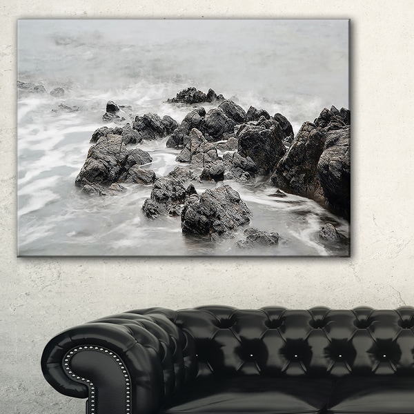 Black and White Rocky Coastline - Extra Large Seashore Canvas Art