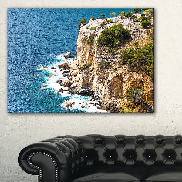 Rocky Cliff Coast Thassos Greece - Extra Large Seashore Canvas Art