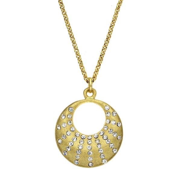 Isla Simone - Gold Tone Crystal Crescent Necklace