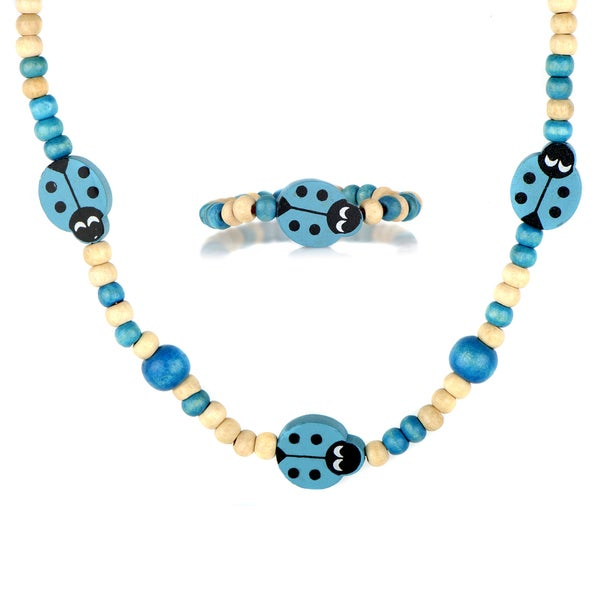 Blue Wooden Lady Bug Jewelry Set