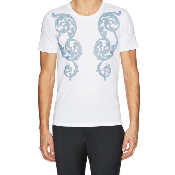 Versace Collection Men's White/ Blue Printed T-Shirt