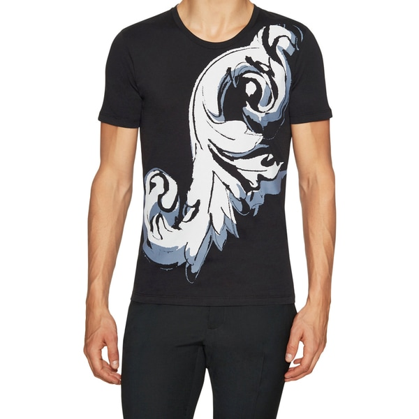 Versace Collection Men's Black Cotton Printed T-shirt