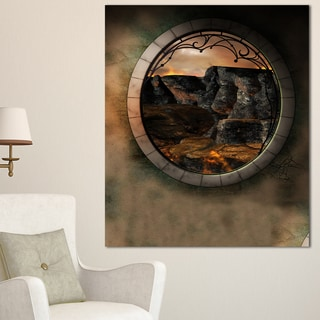 Brown Fantasy Landscape with Frame - Art Photo Canvas Print