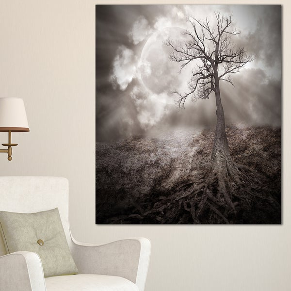 Lonely Tree Holding the Moon - Landscape Art Canvas Print