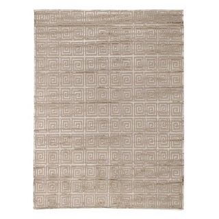 Exquisite Rugs Greek Key Beige New Zealand Wool/Bamboo Silk Rug (9' x 12')